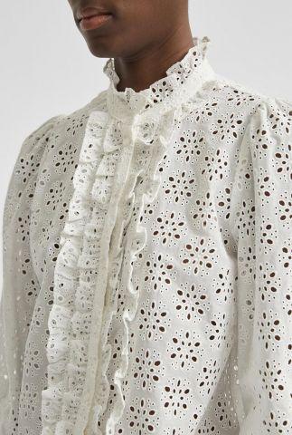 witte opengewerkte blouse met ruches withney shirt 16080379