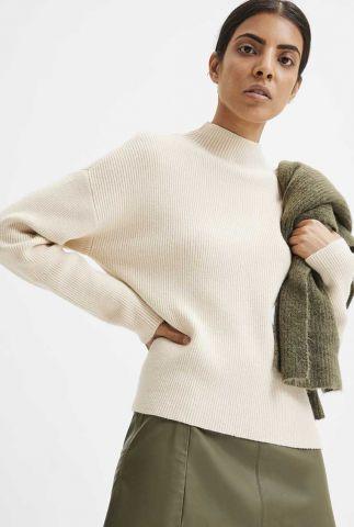 zachte beige trui met opstaande kraag claire knit highneck 16080454