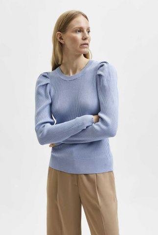 licht blauwe trui met pofmouwen isla knit o-neck 16080458