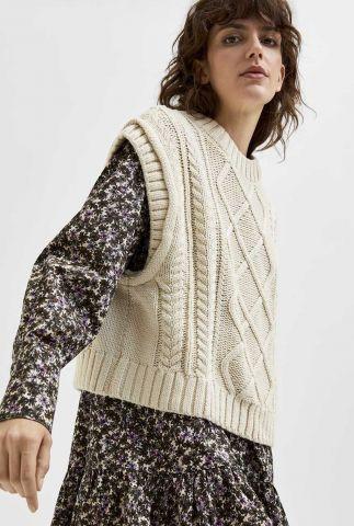 beige spencer met klassiek kabelpatroon piper knit vest