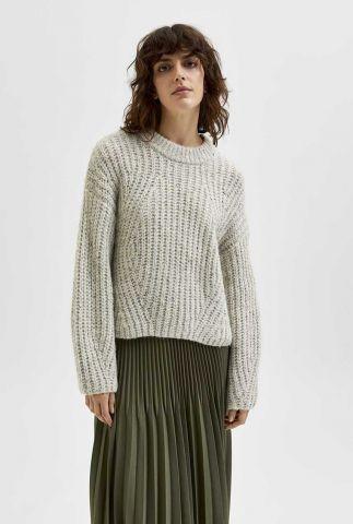 grof gebreide trui met ballonmouwen cara ls knit o-neck 16081083