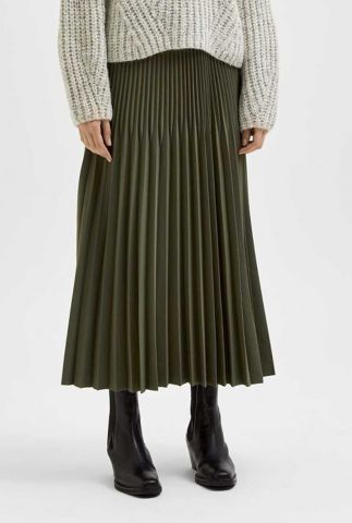 donker groene maxi plissé rok alexandra plisse skirt