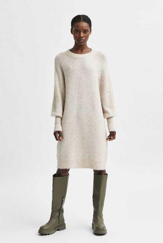zand kleurige wollen jurk lulu knit dress o-neck 16082201