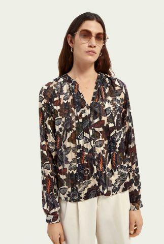 ecru kleurige top met strik hals en botanische print 161454