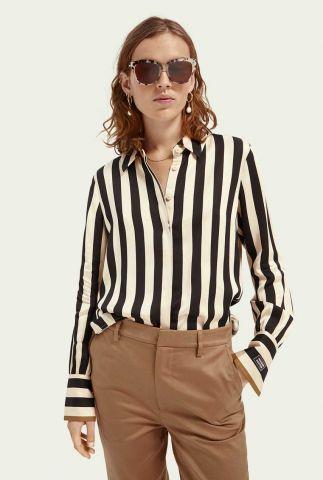 zwart wit gestreepte blouse van viscose 161493