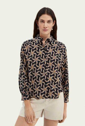 zwarte blouse met zeesterren print 161499