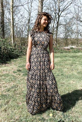 maxi jurk met zeesterren print en geschulpte mouwen 161533