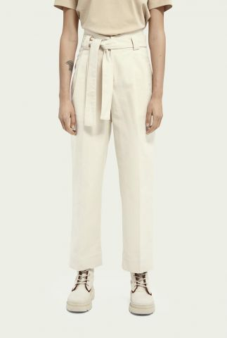 ecru kleurige high-rise twill broek met stoffen riem 161566