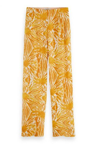 oranje wijde broek met all-over tie-dye print 161573