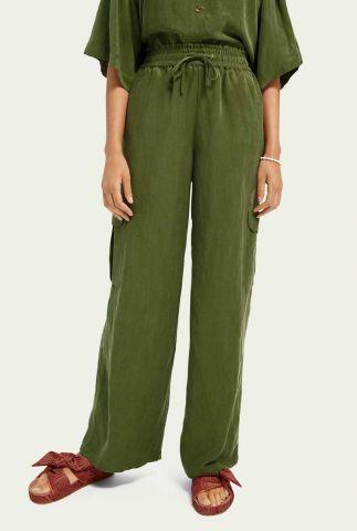 groene cargo broek van linnen mix met zakken 161577