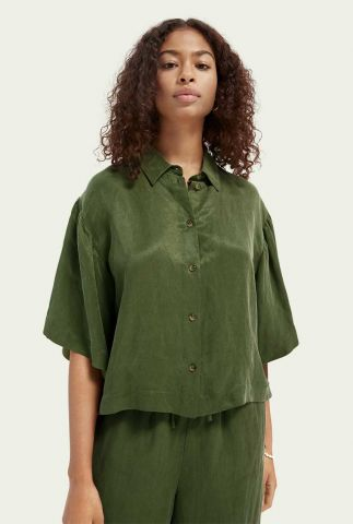 army kleurige cupro blouse met wijde 3/4 mouw 161625