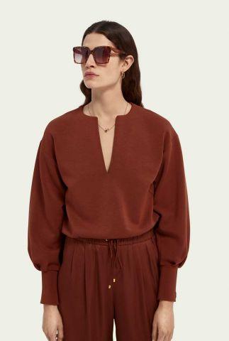 zachte sweater met lage v-hals 161671