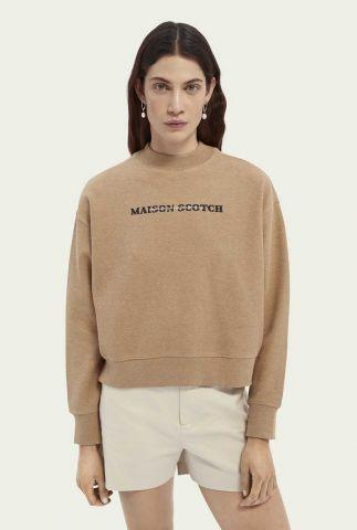 camel kleurige sweater met boxy fit en logo opdruk 161676