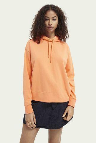 oranje hoodie met grote opdruk op de rug 161689