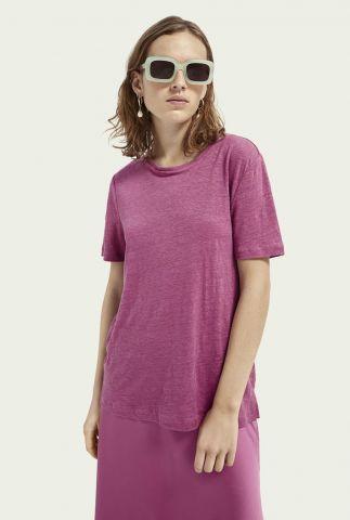 paars linnen t-shirt met ronde hals en korte mouwen 161697