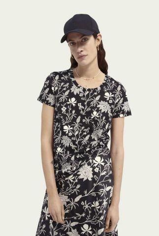 zwart t-shirt met witte bloem print en ronde hals 161703