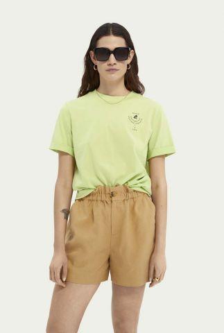 t-shirt met omgeslagen mouw en logo opdruk 161709