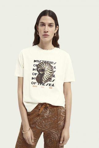 off white boxy t-shirt met grafische opdruk 161713