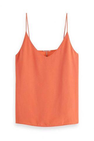 oranje mouwloze satijnen top met v-hals 161733