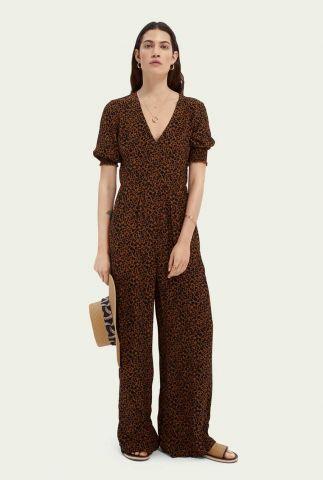 viscose jumpsuit met luipaard print en korte mouw 161788