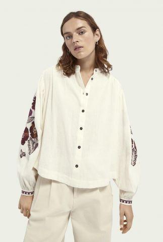 blouse met geborduurde bloemen van linnenmix 161952