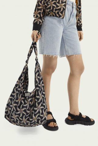 zwarte strand tas met zeesterren print 161994
