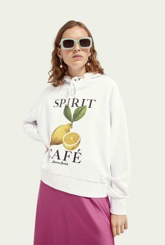 witte oversized sweater met capuchon en print 162076