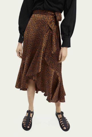 satijn look wikkelrok rok met luipaard print 162160