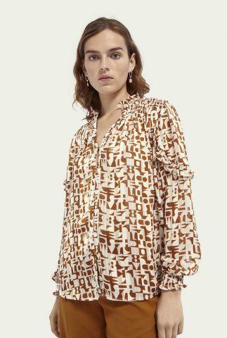 semi transparante blouse met all-over print 162233
