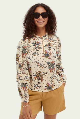 ecru blouse met floral dessin en ruffles 162544