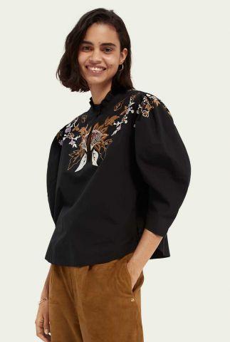 zwarte blouse met geborduurd bloemen dessin 162545