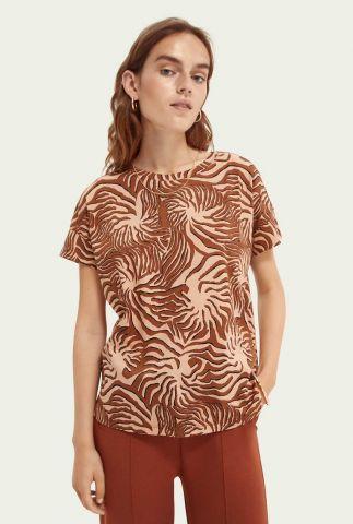 katoenen t-shirt met all-over print en ronde hals 162858