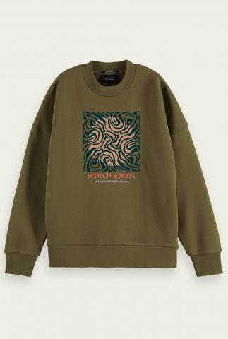 donkergroene oversized sweater met grafisch dessin 163747