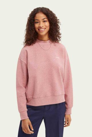 roze sweater met opstaande kraag en logo opdruk 163750