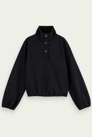 zwarte boxy sweater met sierlijke knopen en ballonmouwen 163755