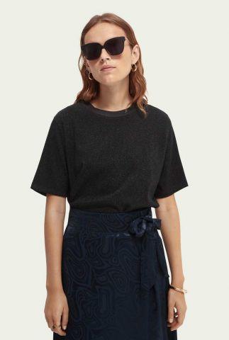 zwart loose fit glitter t-shirt met ronde hals 163780