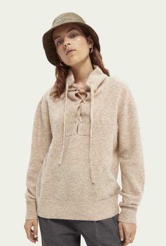 beige trui met gevlochten kraag van wolmix 164853