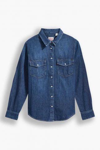 donkere western denim blouse van katoen 16786-0007