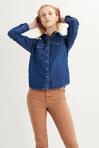 donkere denim blouse essential western shirt 16786-0007