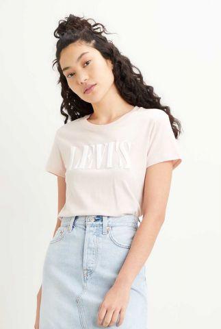 lichtroze katoenen t-shirt met witte logo opdruk 17369-1050