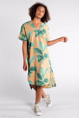khaki kleurige katan jurk met bladeren print 17410 kaftan lysekil