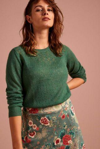 fijngebreide wollen trui met ingebreid dessin yoke top 05108