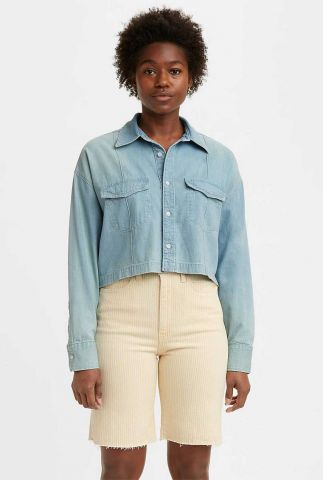 lichtblauwe cropped en oversized blouse relaxed shirt 17718-0002