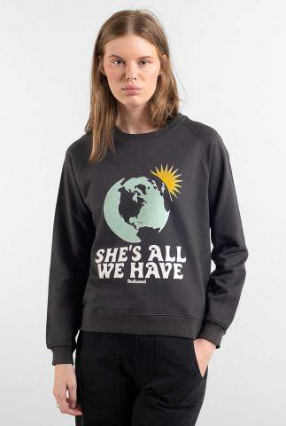 donker grijze sweater van biologisch katoen met opdruk ystad 17933