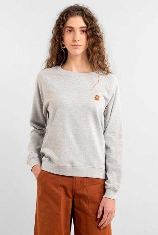 grijze sweater met geborduurd mario detail ystad raglan 17941