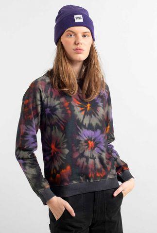 antraciet kleurige sweater met tie dye print ystad raglan 17947