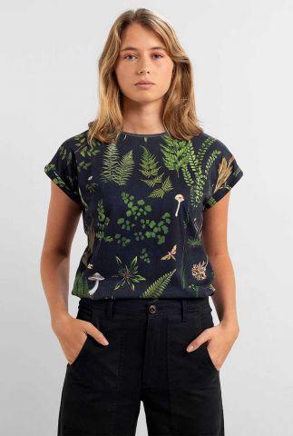 donkerblauw t-shirt met botanische print visby secret garden 18099