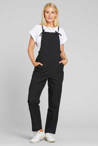 zwarte katoenen jumpsuit met strik detail emmaboda 18450