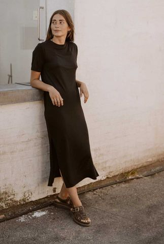 zwarte midi jurk met ronde hals t-shirt dress ronneby 18562