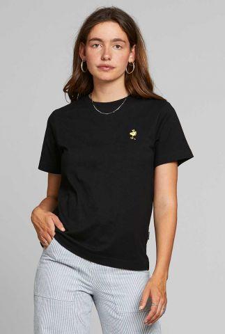 zwart t-shirt met geborduurde applicatie 18771 mysen woodstock
